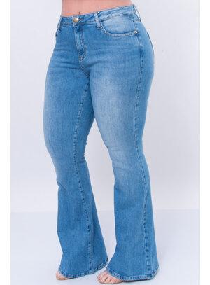 Calça Jeans Plus Size Flare Pespontada