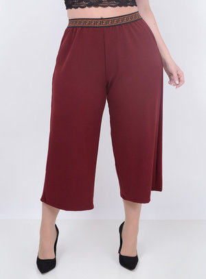 Calça Pantacourt Lurex Marsala Plus Size