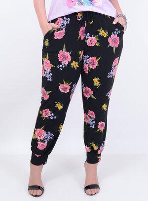 Calça em Helanca Jogger com Amarração Floral