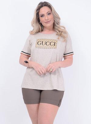 T-shirt em Malha com Estampa Gucci e Detalhe em Ribana com Lurex nas Mangas
