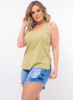 Regata Plus Size Fenda Lateral