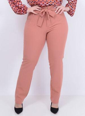 Calça em Alfaiataria Clochard Rosê Plus Size