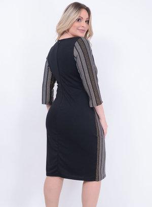 Vestido Recorte Listrado Inverno Plus Size