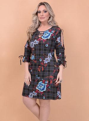 Vestido Evasê Xadrez Plus Size
