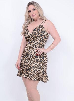 Vestido Onça Alça Dupla Plus Size