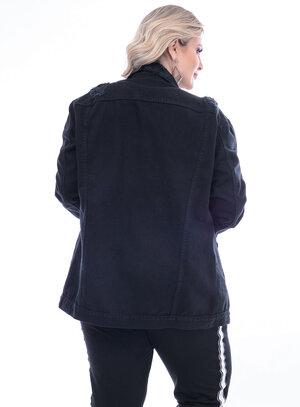 Jaqueta Jeans Attribute Preta Plus Size