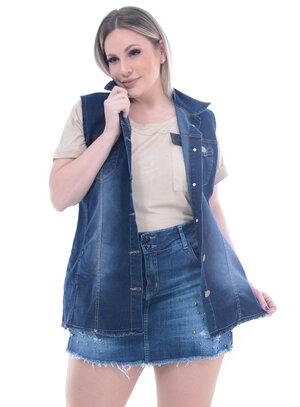 Colete Lenner Jeans Stone Plus Size
