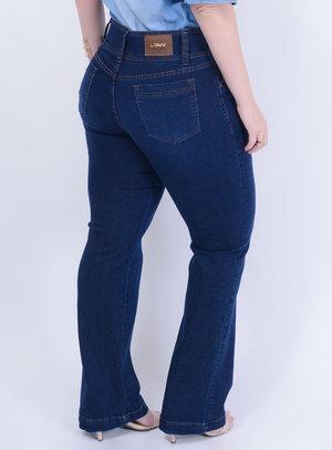 Calça em Jeans com Elastano Flare com Elástico Interno no Cós
