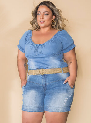 Blusa Jeans Plus Size Ombro a Ombro