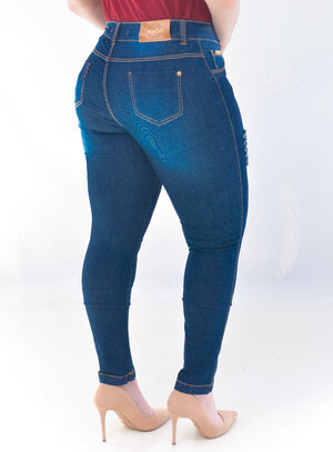 Calça Jeans Plus Size Pespontada Destroyed