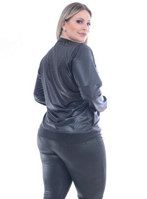 Jaqueta Cirrê Preta Plus Size