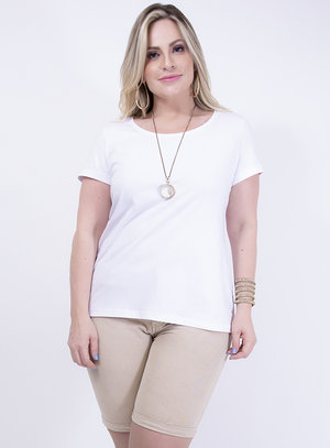 T-shirt Baby Look em Algodão Gola Careca Branca