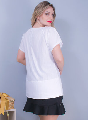 Blusa em Malha Canelada com Detalhes no Decote Branca