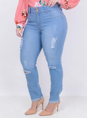 Calça Jeans Destroyed Delavê Plus Size