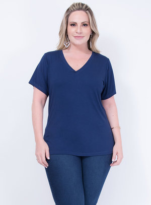T-shirt em Malha Decote em V Azul Marinho