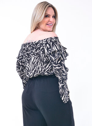 Blusa Ombro a Ombro Plus Size Animal Print