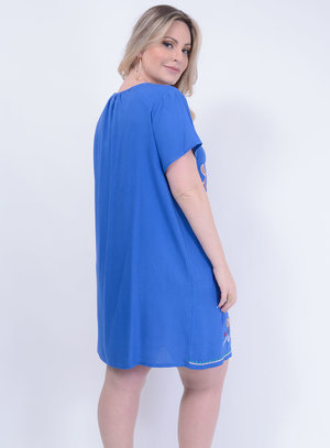 Mini Vest em Viscose com Bordado e Amarração no Decote Azul