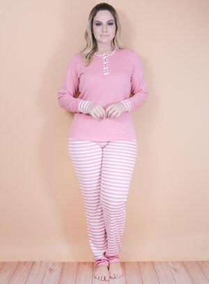 Pijama Longo em Viscose Listrado