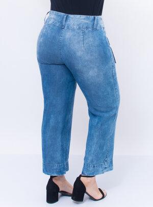 Calça Plus Size Jeans Pantalona