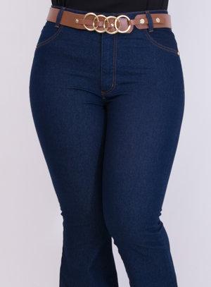 Calça em Jeans com Elastano Flare com Cinto