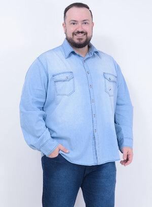 Camisa em Jeans Delavê Masculina com Bolsos