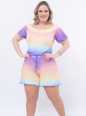 Macaquinho Plus Size Tie Dye Verão