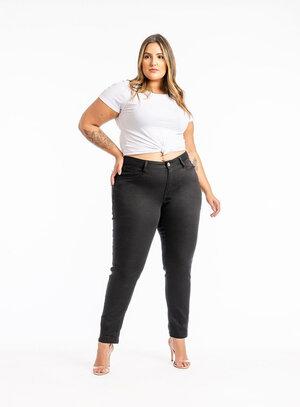 Calça Jeans Plus Size Preta Cigarrete