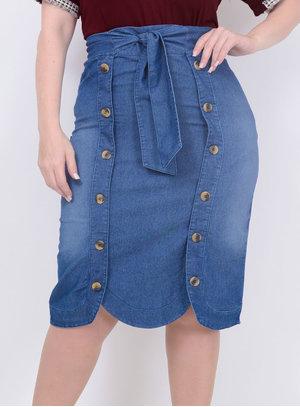 Saia Jeans Midi Botões Plus Size