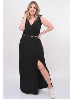 Vestido Longo Plus Size Preto com Fenda