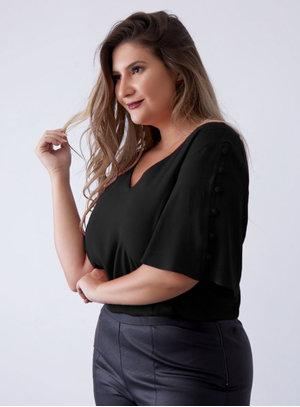Blusa Black Botões Plus Size