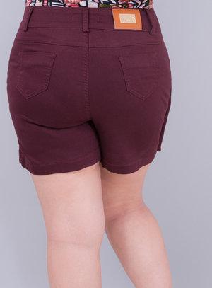 Short Saia em Jeans com Elastano e Zíper Frontal
