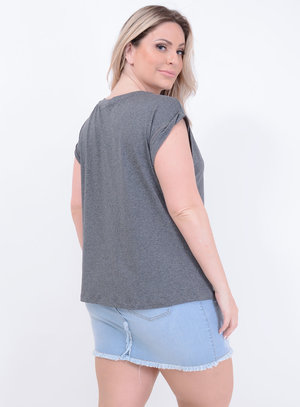 T-shirt Blessed Cinza Plus Size