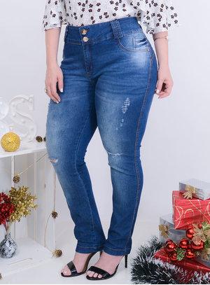 Calça em Jeans Destroyed com Elástico no Cós