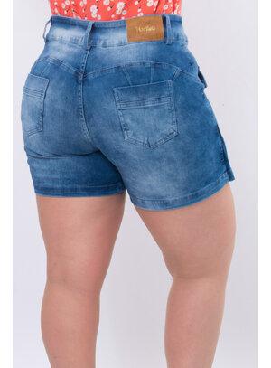 Short Saia Jeans Plus Size Botões