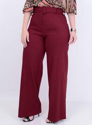 Calça Viscolinho Pantalona Marsala Inverno Plus Size