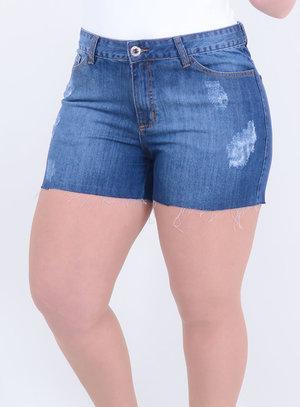 Short em Jeans Destroyed com Barra Desfiada Stone