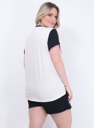 T-shirt Estampada Raglan Plus Size