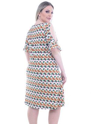 Vestido Lenner Estampa Geométrica Plus Size