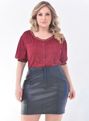 Blusa Plus Size Suede