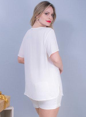 Blusa em Chiffon com Recortes no Decote e Aplicação de Pedraria Off White