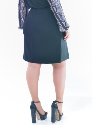 Saia Plus Size em PU e Malha Modelo Secretária
