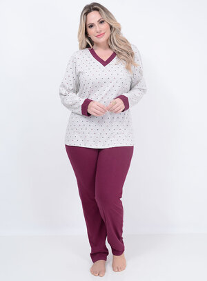 Pijama Longo Coração Plus Size