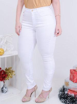 Calça em Jeans com Elastano Skinny Cintura Alta Branca