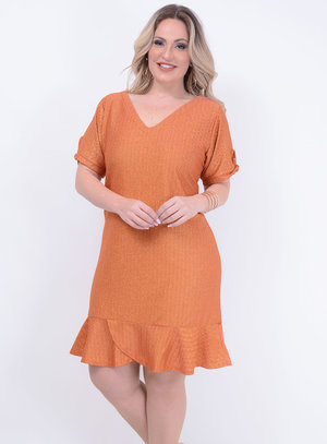 Vestido Lurex Babados Plus Size