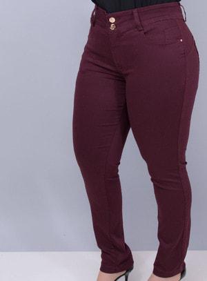 Calça em Jeans com Elastano Skinny Berinjela