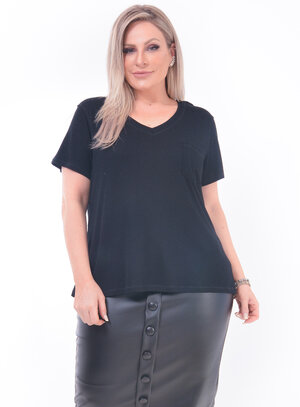 T-Shirt Plus Size Bolso