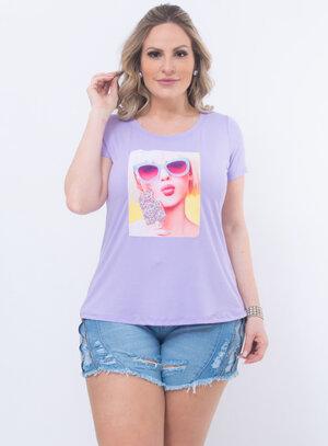T-Shirt Plus Size Lilás