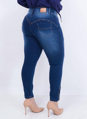 Calça Jeans Zíper Plus Size