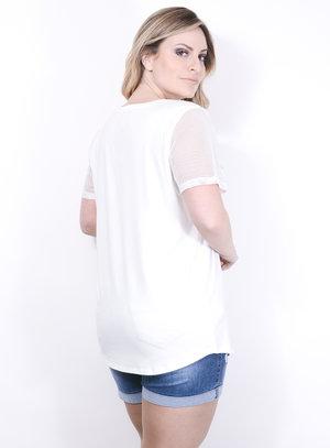 T-Shirt em Malha Estampada com Manga de Tela Off-White