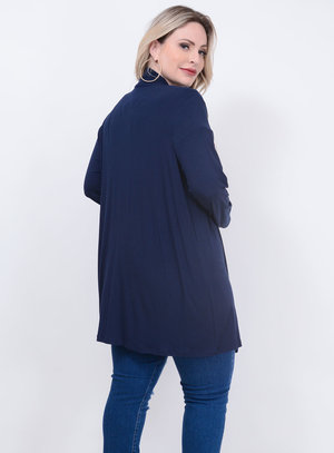 Cardigan Broche Laço Plus Size